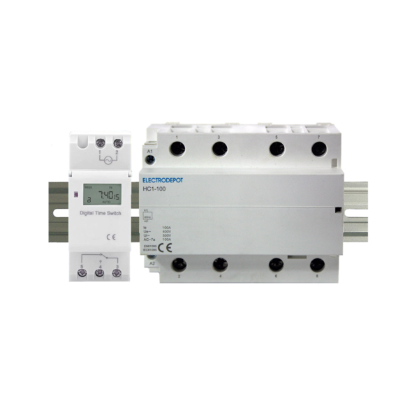 ElectroDepot 7 Day 24 Hour Programmable Timer 100A Normally Open Lighting Contactor 120VAC